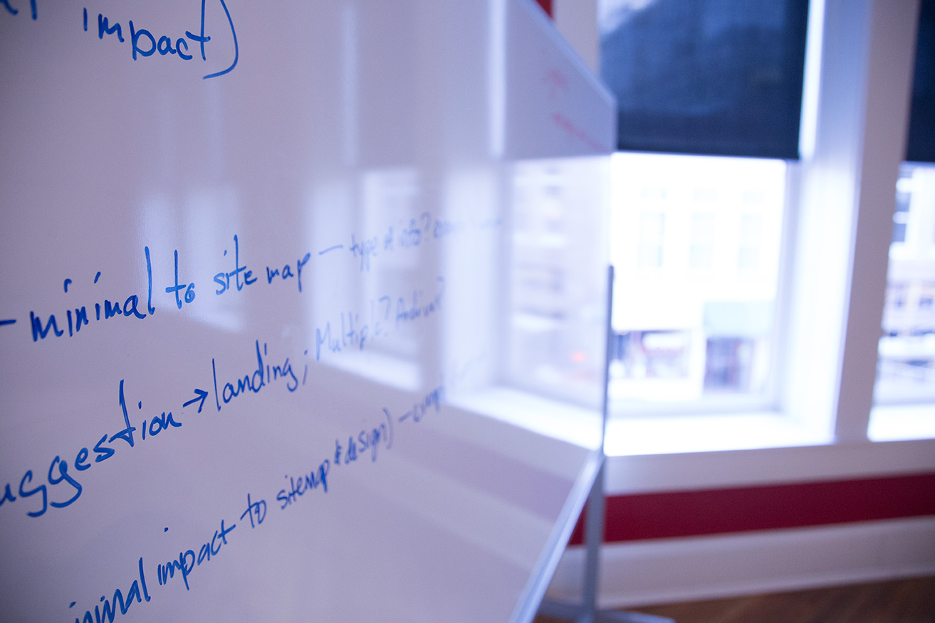 Whiteboard used for collaboration at Kompleks Creative.