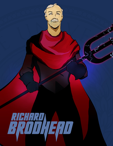 Kompleks comic book illustration of Richard Brodhead for the Greater Durham Chamber of Commerce