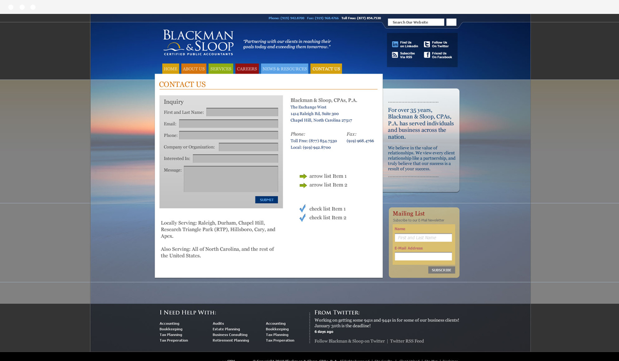 Blackman and Sloop web design by Kompleks Creative.
