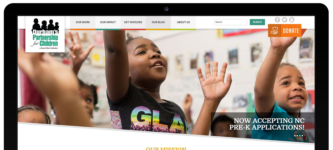 Durham's Partnership for Children web design by Kompleks Creative.