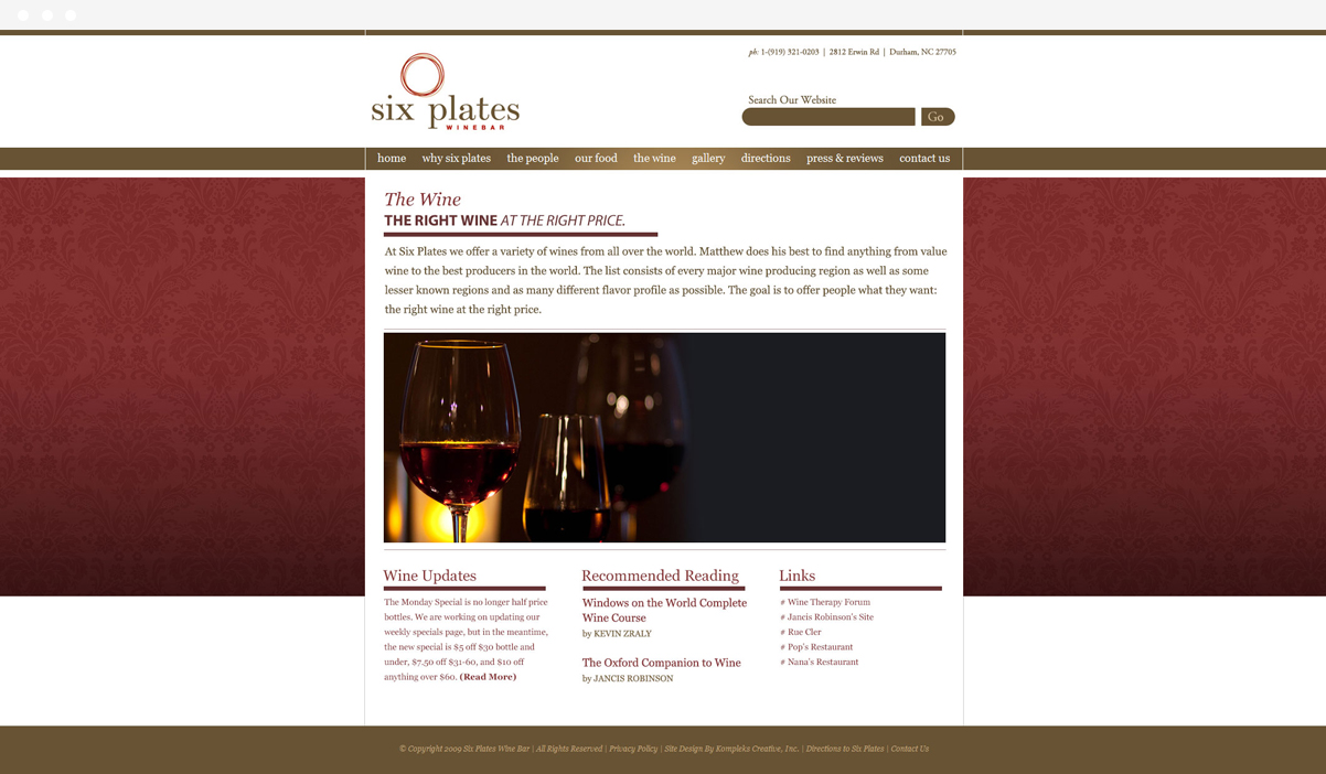 Six Plates Wine Bar web design by Kompleks Creative.